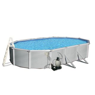 Samoan Oval 52 Inch Deep, 8 inch Top Rail Swimming Pool Kit Swim Time Above Ground Pools