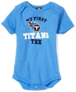 "NFL Infant/Toddler Boys' Tennessee Titans ""My First Tee"" Onesie (Blue, 12 Months)  Sports Fan T Shirts  Clothing"