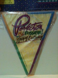 """Perfection is Possible Happy Birthday"" Flag Banner 11 inch x 4 yards Health & Personal Care"