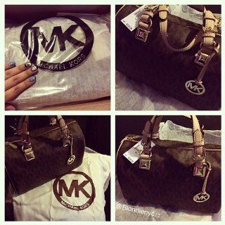 MICHAEL Michael Kors Logo Grayson Large Satchel,Brown,one size Michael Kors Shoes