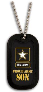 "United States Army Armed Forces ""Proud Army Son"" Yellow Star Logo Symbols   Military Dog Tag Luggage Tag Key Chain Metal Chain Necklace Jewelry"