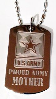 "United States Army Armed Forces ""Proud Army Mom"" Engraved Star Logo Symbols   Military Dog Tag Luggage Tag Key Chain Metal Chain Necklace"