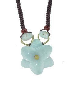 Flaunt Your Flower Power with This Jade Amaryllis Flower Necklace. Simple but Elegantly Put Together with Oval Jade Beads Made with Brown Cord Jewelry