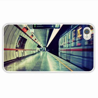 Custom Made Cell Phone Cases For Iphone 4 4S City Subway Underground Train Bus Stop Of Romantic Present White Cell Phone Skin For Girl Cell Phones & Accessories