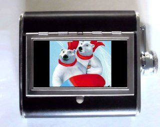 Coca Cola Polar Bear Sledding Whiskey and Beverage Flask, ID Holder, Cigarette Case Holds 5oz Great for the Sports Stadium Kitchen & Dining