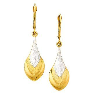 14K Yellow and White 2 Two Tone Gold Teardrop Fancy Dangle Hanging Earrings for Women GoldenMine Jewelry