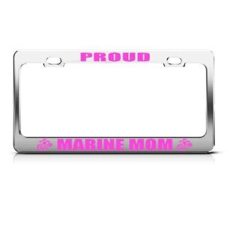 Proud Marine Mom Metal Military License Plate Frame Tag Holder Automotive