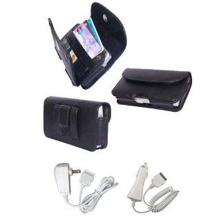 PCMICROSTORE Brand Apple iPhone PDA Premium Black Leather Wallet Carrying Case with Belt Loop and Clip   Include Accessory Compartment   Style H11   Bundled with 12v Rapid Premium Car Charger and Home Travel Wall Charger Cell Phones & Accessories