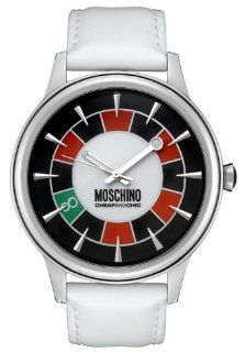 Moschino MW0097 Men's Rien Ne Va Plus White Dial White Leather Watch at  Men's Watch store.