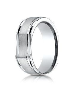 Benchmark 14K White Gold 7mm Ergonomic Comfort Fit Satin Finish with High Polish Edge Design Wedding Band Jewelry