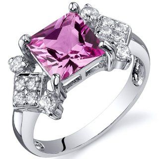 Princess Cut 2.25 carats Created Pink Sapphire Cubic Zirconia Ring in Sterling Silver Rhodium Nickel Finish Available in Sizes 5 thru 9 Peora Jewelry