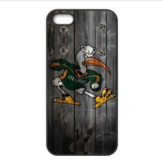 iPhone 5 & 5s Case   Wood Look NCAA Miami Hurricanes Accessories Apple iPhone 5 & 5s Waterproof TPU Back Cases Covers Cell Phones & Accessories