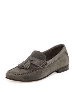 Balmoral Mens Suede Moccasin Driver, Gray   Jimmy Choo   Brown (43)