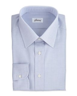 Mens Micro Check Dress Shirt, Blue/Brown   Brioni   Blue/Brown (39/15.5L)