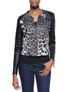 Womens Leopard Print Degrade Leather Moto Jacket   Just Cavalli   Natural (42)
