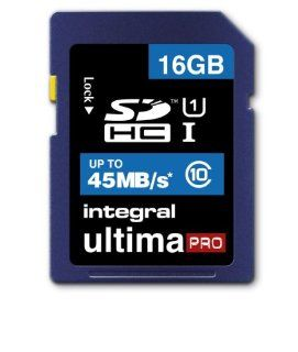 16GB Integral Ultima Pro SDHC 45MB/sec CL10 High Speed (UHS 1) memory card Computers & Accessories