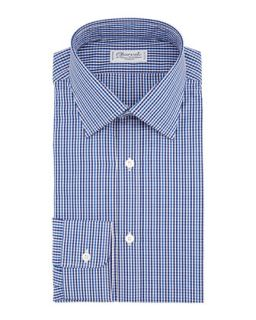 Mens Gingham Dress Shirt, Blue/Brown   Charvet   Blue/White (16L)