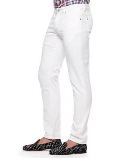 Mens Slim Fit Jeans, White   Michael Bastian   White (48)