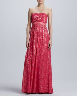 Womens Strapless Metallic Jacquard Gown   Erin by Erin Fetherston   Bright