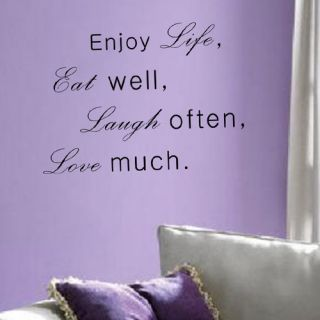 Enjoy Life Eat Well Laugh Often Love Much Wall Decal by Pop Decors