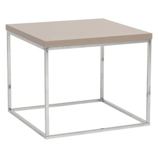 Euro Style Teresa Side Table   Taupe Lacquer/Polished Stainless Steel   End Tables