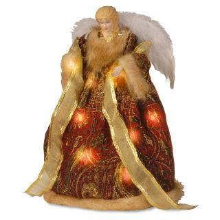 16 in. Burgundy Pre Lit LED Christmas Angel Tree Topper   Christmas Decorative Accents