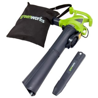 Greenworks 12 Amp 380 CFM 230 MPH Medium Duty Corded Electric Leaf Blower with Vacuum Kit