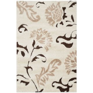 Safavieh Shag Cream/ Dark Brown Rug (33 x 53)   Shopping