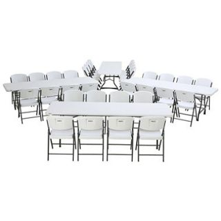 Lifetime Combo Four 8 Commercial Grade Folding Tables and 32 Folding Chairs, White Granite