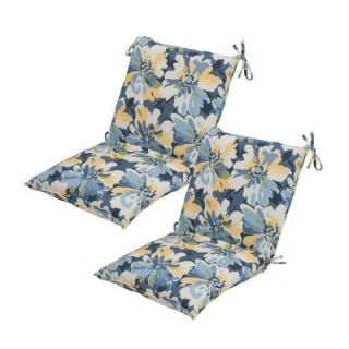 Hampton Bay Splash Floral Mid Back Outdoor Chair Cushion (2 Pack) DISCONTINUED 7410 02002200