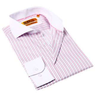 Brio Milano Mens White and Pink Stripe Button up Dress Shirt