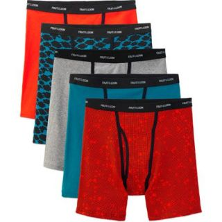 Fruit of the Loom Men's Ringer Style Assorted Color Boxer Briefs, 5 Pack