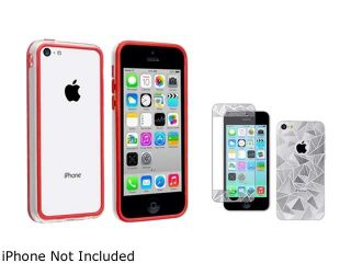 Insten Clear/ Red TPU Rubber Bumper with 3D Triangle Screen Protector Compatible with Apple iPhone 5C 1475247