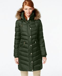 MICHAEL Michael Kors Hooded Faux Fur Trim Down Puffer Coat   Coats