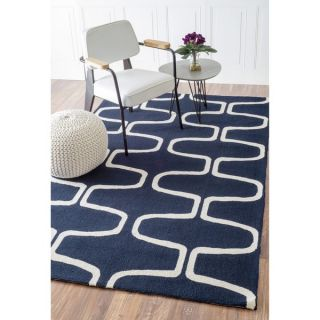 Abstract Hand hooked Alexa Moroccan Trellis Wool Rug (76 x 96)