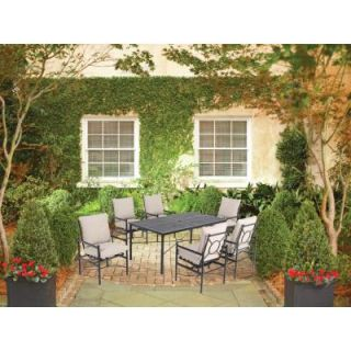 Hampton Bay Barnsley 7 Piece Metal Top Patio Dining Set with Textured Silver Pebble Cushions DISCONTINUED FSS61119MST