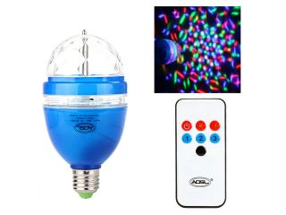Full Color LED RGB Rotating Lamp with Remote Sound activated Stage DJ Light Bulb 3W E27 85 260V Blue