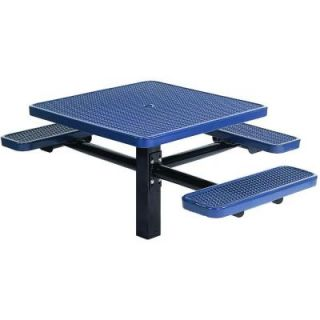 Tradewinds Park 46 in. Blue Commercial Square Picnic Table with 3 Seats HD D532GS BL