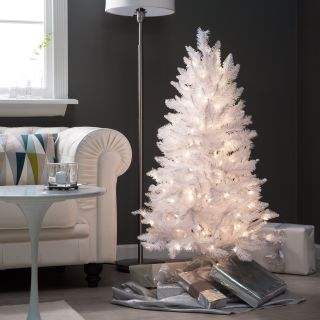 4 ft. White Tiffany Tinsel Pre lit Christmas Tree by Sterling Tree Company   Christmas Trees