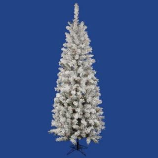 7.5' Pre Lit Flocked Pacific Pine Pencil Artificial Christmas Tree   Multi