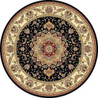 Safavieh Lyndhurst Collection Traditional Black/ Ivory Rug (7 Round)
