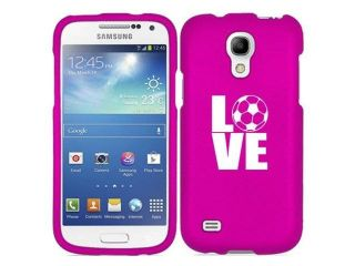 Samsung Galaxy S4 S IV Snap On 2 Piece Rubber Hard Case Cover Love Soccer (Hot Pink)
