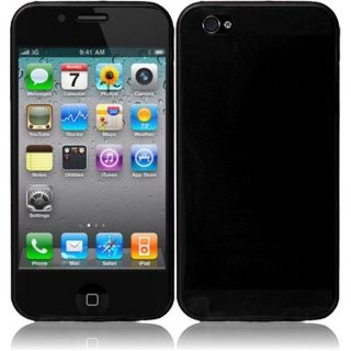 INSTEN Black TPU Rubber Candy Skin Phone Case Cover for Apple iPhone 4
