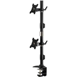 Amer Mounts Clamp Based Vertical Dual Monitor Mount for two 15 24 L