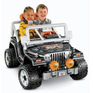 Fisher Price Power Wheels Black Tough Talkin' Jeep 12 Volt Battery Powered Ride On