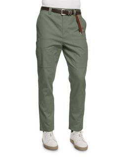 Brunello Cucinelli Slim Fit Knit Cargo Pants, Olive