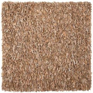 Safavieh Leather Shag Dark Beige 4 ft. x 4 ft. Square Area Rug LSG421C 4SQ