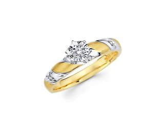 14k Yellow Two Tone Gold Diamond Engagement Ring .14 ct (G H Color, SI2 Clarity)