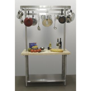 Line by Advance Tabco Chefs Prep Table with Wood Top and Pot Rack