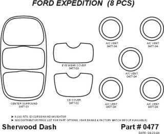 1997, 1998, 1999 Ford Expedition Wood Dash Kits   Sherwood Innovations 0477 N50   Sherwood Innovations Dash Kits